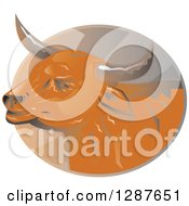 Clipart Of A Retro Bull Head In A Ray Oval Royalty Free Vector Illustration