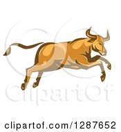 Clipart Of A Retro Angry Bull Attacking And Jumping Royalty Free Vector Illustration
