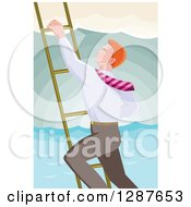 Clipart Of A Retro Red Haired Caucasian Businessman Climbing A Ladder Over The Ocean Royalty Free Vector Illustration by patrimonio