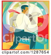 Retro Caucasian Businessman Running Over A Clock And Colorful Graph Bars