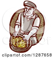 Clipart Of A Retro Woodcut Male Farmer Carring A Basket Of Harvest Vegetables Royalty Free Vector Illustration