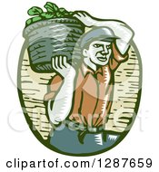Clipart Of A Retro Woodcut Male Farmer Carring A Basket Of Harvest Vegetables On His Shoulder Royalty Free Vector Illustration