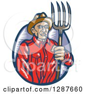 Clipart Of A Retro Woodcut Male Farmer Holding A Pitchfork Royalty Free Vector Illustration