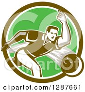 Clipart Of A Retro Man Bowling In A Brown Green And White Circle Royalty Free Vector Illustration by patrimonio