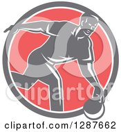 Clipart Of A Retro Man Bowling In A Gray White And Pink Circle Royalty Free Vector Illustration