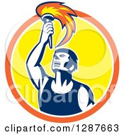 Clipart Of A Retro Male Athlete Holding Up A Torch In An Orange White And Yellow Circle Royalty Free Vector Illustration by patrimonio
