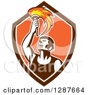 Clipart Of A Retro Male Athlete Holding Up A Torch In A Brown White And Orange Shield Royalty Free Vector Illustration by patrimonio