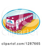 Clipart Of A Retro Shuttle Bus In An Oval Of Sunshine Royalty Free Vector Illustration