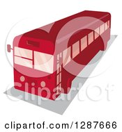Clipart Of A High Angle View Of A Retro Red Shuttle Bus Royalty Free Vector Illustration