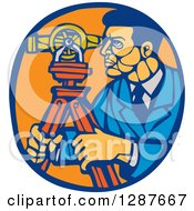 Clipart Of A Retro Woodcut Ale Surveyor Using A Theodolite Instrument In A Blue And Orange Oval Royalty Free Vector Illustration by patrimonio