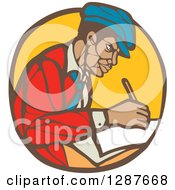 Clipart Of A Retro Woodcut Black Male Journalist Writing In A Brown And Yellow Circle Royalty Free Vector Illustration