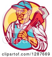 Clipart Of A Retro Woodcut Male Plumber Holding A Monkey Wrench In A Circle Royalty Free Vector Illustration