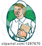 Clipart Of A Retro Woodcut Blond Caucasian Female Nurse Holding A Cliboard In A Green Oval Royalty Free Vector Illustration