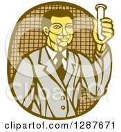 Clipart Of A Retro Woodcut Asian Male Scientist Holding A Test Tube Royalty Free Vector Illustration by patrimonio
