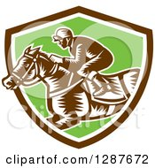 Clipart Of A Retro Woodcut Jockey Racing A Horse In A Brown White And Green Shield Royalty Free Vector Illustration