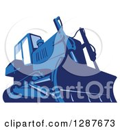 Clipart Of A Retro Blue Bulldozer Machine Royalty Free Vector Illustration by patrimonio