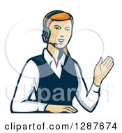 Retro Red Haired White Female Call Center Worker Waving And Wearing A Headset