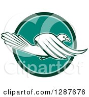 Clipart Of A Retro Pigeon Flying In A Teal And Turquoise Circle Royalty Free Vector Illustration