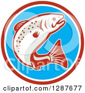 Clipart Of A Retro Jumping Trout Fish In A Red White And Blue Circle Royalty Free Vector Illustration
