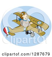 Clipart Of A Cartoon Wwi Male British Airforce Pilot In A Sopwith Camel Scout Plane Royalty Free Vector Illustration