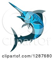Clipart Of A Retro Blue Marlin Fish Jumping And Facing Left Royalty Free Vector Illustration