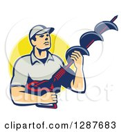 Clipart Of A Retro Caucasian Male Worker Holding A Hole Driller Over A Yellow Circle Royalty Free Vector Illustration