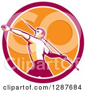 Clipart Of A Retro Male Track And Field Javelin Thrower In A Pink White And Orange Circle Royalty Free Vector Illustration by patrimonio