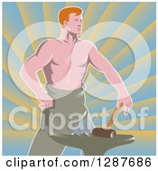 Retro Shirtless Muscular Blacksmith With A Hammer And Anvil Over Rays