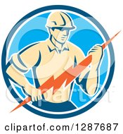 Clipart Of A Retro Male Electrician Holding A Lightning Bolt In A Blue And White Circle Royalty Free Vector Illustration