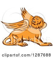 Clipart Of A Resting Griffin Winged Lion Royalty Free Vector Illustration by patrimonio