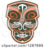 Clipart Of A Retro Maori Mask In Dark Green White And Orange Royalty Free Vector Illustration by patrimonio