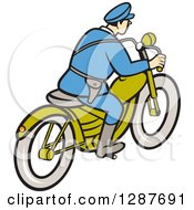 Clipart Of A Rear Side View Of A Cartoon Highway Patrol Police Man On A Motorcycle Royalty Free Vector Illustration by patrimonio