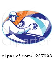Clipart Of A Retro Male Automotive Glass Installer Putting In A New Windshield In A Blue And Orange Ray Oval Royalty Free Vector Illustration