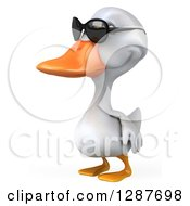Clipart Of A 3d White Duck Wearing Sunglasses And Facing Left Royalty Free Illustration