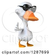 Clipart Of A 3d White Duck Wearing Sunglasses And Giving A Thumb Up Royalty Free Illustration
