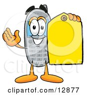 Clipart Picture Of A Wireless Cellular Telephone Mascot Cartoon Character Holding A Yellow Sales Price Tag by Toons4Biz
