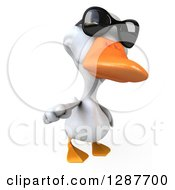 Clipart Of A 3d White Duck Wearing Sunglasses And Pointing At You Royalty Free Illustration