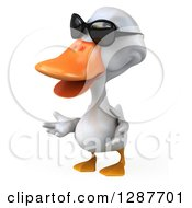 Clipart Of A 3d White Duck Wearing Sunglasses Facing Left And Shrugging Royalty Free Illustration