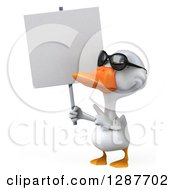 Clipart Of A 3d White Duck Wearing Sunglasses Holding And Pointing To A Blank Sign Royalty Free Illustration
