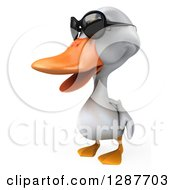 Clipart Of A 3d White Duck Wearing Sunglasses And Facing Slightly Left Royalty Free Illustration