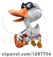 Clipart Of A 3d White Duck Wearing Sunglasses And Flying To The Left With A Guitar Royalty Free Illustration