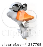 Clipart Of A 3d White Duck Wearing Sunglasses And Pointing Around A Sign Royalty Free Illustration
