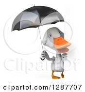 Clipart Of A 3d White Duck Holding A Black Umbrella Around A Sign Royalty Free Illustration