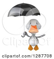 Clipart Of A 3d White Duck Flying And Holding A Black Umbrella Royalty Free Illustration
