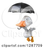 Clipart Of A 3d White Duck Flying To The Left And Holding A Black Umbrella Royalty Free Illustration