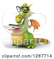 Clipart Of A 3d Bespectacled Green Dragon Facing Slightly Left And Reading A Book Royalty Free Illustration