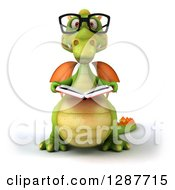 Clipart Of A 3d Bespectacled Green Dragon Reading A Book Royalty Free Illustration by Julos