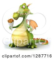 Clipart Of A 3d Green Dragon Holding French Fries Royalty Free Illustration