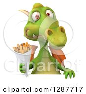 Clipart Of A 3d Green Dragon Holding French Fries Over A Sign Royalty Free Illustration