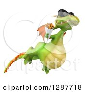 Clipart Of A 3d Green Dragon Wearing Sunglasses Flying To The Right And Holding French Fries Royalty Free Illustration